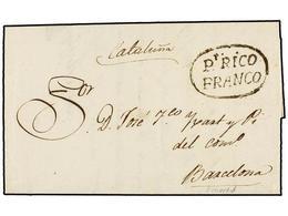 PUERTO RICO. 1829 (25 Agosto). S. JUAN A BARCELONA. Carta Completa PT. RICO/FRANCO (nº 9). MUY RARA Y De Excepcional Cal - Sellos