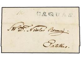 PUERTO RICO. 1849 (1 Octubre). CAGUAS A PATILLAS. Carta Completa Con Texto, Marca CAGUAS En Azul, Al Dorso Tránsito Por  - Sellos
