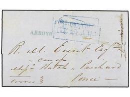 PUERTO RICO. 1850. GUAYAMA A PONCE. Carta Completa Con Texto. Marca S. TOMAS En Azul Puesta Por Error Y Corregida Con Un - Sellos