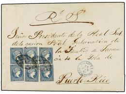 PUERTO RICO. Ant.7 (6). 1861. MAYAGUEZ A S. JUAN. 1/2 Real Azul De Antillas (6) Mat. PARRILLA COLONIAL. Precioso Y Raro  - Sellos