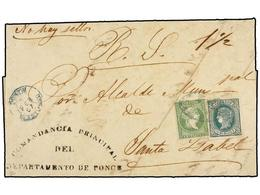"""PUERTO RICO. Ant.8, 10. 1865. PONCE A SANTA ISABEL. Frente De Carta Del R.S. Manuscrito """"No Hay Sellos"""" Y Fechador De PO - Sellos"""