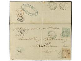 COLONIAS ESPAÑOLAS: PUERTO RICO. Ant.23,24. 1871. MAYAGUEZ A BARCELONA (España). 50 Cts.verde Y 1 Pta. Castaño, Mat. PAR - Sellos