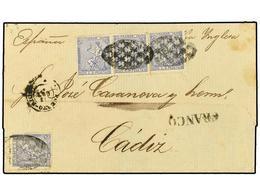 COLONIAS ESPAÑOLAS: PUERTO RICO. Ant.22 (4). 1872. S. JUAN A CADIZ. 25 Cts. Ultramar (4) Un Sello Defecto En Origen. Cir - Sellos