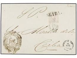 PUERTO RICO. Ant.25. 1873. S. JUAN A CEIBA. Frente De Carta Del S.P. Con Sello De 25 Cts. Matasellado A La Llegada Con L - Sellos