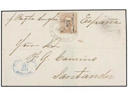 PUERTO RICO. Ed.3. 1874. MAYAGUEZ A SANTANDER. 1 Pta. Castaño. Mat. Ovalado PLAYA DE MAYAGUEZ/PTO. RICO. Al Dorso Fechad - Sellos