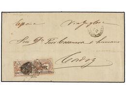 PUERTO RICO. Ed.3 (2). 1875. SAN JUAN A CÁDIZ. 1 Pta. Castaño, Pareja, Mat. PARRILLA COLONIAL. Circulada Vía Inglaterra. - Sellos