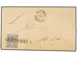 PUERTO RICO. Ed.16. 1877. GUAYANILLA A S. JUAN. 25 Cts. Azul Gris Mat. Prefilatélico GAUYANILLA. MUY BONITO Y RARO. - Sellos