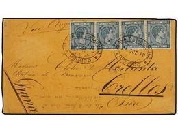 PUERTO RICO. Ed.20(4). 1878. MAYAGUEZ A FRANCIA. 25 Cts. Verde. Tira De Cuatro. Mat. Ovalado PLAYA DE MAYAGUEZ/PTO. RICO - Sellos