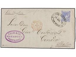 PUERTO RICO. 1878. SAN JUAN A GÉNOVA (Italia). 50 Cts. Azul. Mat. Ovalado MAYAGUEZ/PTO. RICO Y Marca Octogonal Marítima  - Sellos