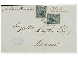PUERTO RICO. Ed.20 (2). 1878. MAYAGUEZ A GÉNOVA. 25 Cts. Verde (2), Mat. Ovalado MAYAGUEZ/PTO. RICO Y Fechador Marítimo  - Sellos