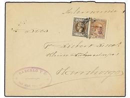 PUERTO RICO. Ed.141 + IG 2. 1898. SAN JUAN A HAMBURGO. 8 Ctvos. Castaño Y Sello De IMPUESTO DE GUERRA De 2 Ctvos. Carmín - Sellos