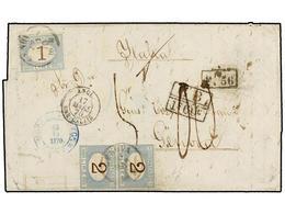 "PUERTO RICO. 1870. SAN JUAN A GÉNOVA. Circulada Sin Sellos En El Buque ""Neva"" De La Royal Mail Steam Packet, Marcas De I - Sellos"