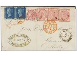 PUERTO RICO. 1874. MAYAGUEZ A GÉNOVA. Circulada Con Sellos Británicos De 2 P. Azul (pl. 14) (2) Y 3 P. Rosa (pl. 14) (4  - Sellos