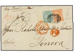 PUERTO RICO. 1875. S. JUAN A GÉNOVA. Circulada Con Sellos Británicos De 4 D. Naranja (pl. 14) Y 1 Sh. Verde (pl. 10) Mat - Sellos