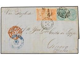 PUERTO RICO. 1876. MAYAGUEZ A GÉNOVA. Circulada Con Sellos Británicos De 4 D. Naranja (pl. 14) (2) Y 1 Sh. Verde (pl. 12 - Sellos