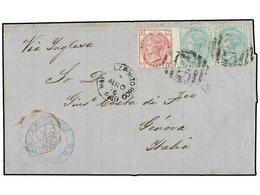PUERTO RICO. 1876. MAYAGUEZ A GÉNOVA. Circulada Con Sellos Británicos De 3 D. Rosa (pl. 18) Y 1 Sh. Verde (pl. 12) (2) M - Sellos