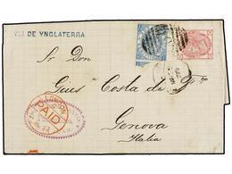 PUERTO RICO. 1877. SAN JUAN A GÉNOVA. Circulada Con Sellos Británicos De 3 D. Rosa (pl. 18) Y 2 Sh. Azul (pl. 1), Mat. C - Sellos