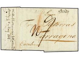 "RUSIA. 1805 (20 April). TULCHYN (Ucrania) To TARRAGONA (Spain). Entire Letter, Forwarded Via BRODY (Austria). Rated ""7 R - Sellos"