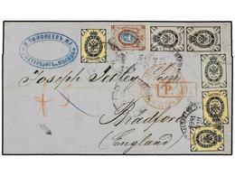 RUSIA. 1866. MOSCU To ENGLAND. 1k. (3), 3k., 5k. (2) And 10k. Fine Four-colour Franking, Light File Fold Affecting One S - Sellos