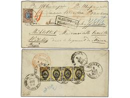 RUSIA. 1872 (April). MORSHANIK To SWITZERLAND. 1 Kr. Black And Yellow (strip Of Four) And 10 K. Brown And Blue. Marked I - Sellos