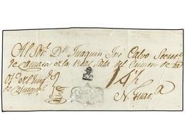 """SALVADOR. (1800 CA.). Frente De Plica Judicial Circulada A N. GUATEMALA. Marca COXVTE/PEQUE Y XX/F.7º Y Porte """"14 1/2"""" R - Sellos"""