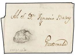 SALVADOR. 1807 (27 Diciembre). SONSONATA A GUATEMALA. Carta Completa Con Texto, Marca SON/SONATE. - Sellos
