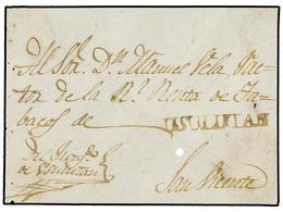 SALVADOR. (1810 CA.). FRONTAL Circulado A S. VICENTE. Marca USULUTAN En Tinta De Escribir. - Sellos