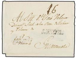 """SALVADOR. (1810 CA.). SAN VICENTE A GUATEMALA. Envuelta, Marca S. VICENTE En Negro Y Porte De """"16"""" Reales. - Sellos"""