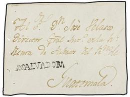 SALVADOR. (1815 CA.). Frontal Circulado A GUATEMALA. Marca Lineal S. SALVADOR (nº 4) En Negro. - Sellos