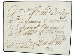 SALVADOR. (1816 CA.). Frontal Circulado De ZACATECOLUCA A GUATEMALA. Marca ZACATE/COLVCA. - Sellos