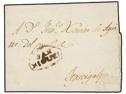 SALVADOR. 1820 (8 Febrero). S. MIQUEL A TEGUCIGALPA. Carta Completa Con Texto, Marca SAN/MIGUEL En Tinta De Escribir. - Sellos