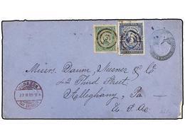 SALVADOR. Sc.13, 20. 1889. SAN SALVADOR A U.S.A. Entero Postal De 5 Ctvos. Azul Con Franqueo Adicional De 1 Ctvo. Verde  - Sellos