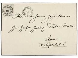 SUECIA. Fa.2i. 1857. STOCKHOLM A ASEN. 4 Sk. Gris Ultramar, Mat. Fechador STOCKHOLM/18 9 57. MAGNÍFICA. Cert. SJOMAN. - Sellos