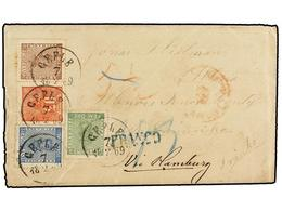 SUECIA. Fa.7, 9, 11, 16. 1869. GEFLE To U.S.A. Envelope With Full Contents Franked With 5 Ore Green, 12 Ore Blue (minor  - Sellos