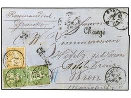 SUIZA. 1863 (May 11th). Registered Cover From Lenzburg To Vienna, Austria Bearing Fine Mixed Issue Franking Of Imperfora - Sellos