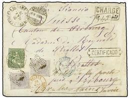 ESPAÑA. Ed.204 (2). 1879. MADRID A FRIBOURG (Suiza). Carta Certificada Circulada Con Dos Sellos De 25 Cts. Gris Reexpedi - Sellos