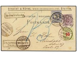 SUIZA. 1889. STETTIN A NEUCHATEL. Card Franked With 5 Pf. Lilac Stamp, Taxed On Arrival With Swiss 3 Cts. Blue And 10 Ct - Sellos