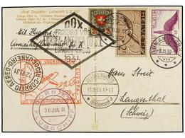 SUIZA. 1930. ROMANSHORN A RÍO DE JANEIRO Y Vuelta A SUIZA. Tarjeta Postal Con Franqueo De 1 Fr. Y 2 Fr. (2) Circulada Po - Sellos