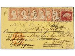ESTADOS UNIDOS. Sc.26 (8). 1858. LAWRENCEVILLE To LIVERPOOL. 3 Cents. Red (Ty. III) (8) Tied By Circular LAWRENCEVILLE/G - Sellos