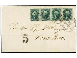 ESTADOS UNIDOS. Sc.35 (4). 1859. NEW ORLEANS To VERACRUZ. 10 Cts. Green (Ty. V). Strip Of Four Tied By NEW ORLEANS Cds,  - Sellos