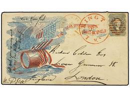 ESTADOS UNIDOS. 1860 (Dic.). 24 Cents Gris En Sobre Patriótico (Efigie De Washington). Carta De LEXINGTON A LONDON. Al D - Sellos
