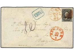 ESTADOS UNIDOS. Sc.90. 1870. BALTIMORE To BRAZIL. 12 Cts. Black (grill) Tied With Red Cancel. Blue Boxed FRANCA Handstam - Sellos