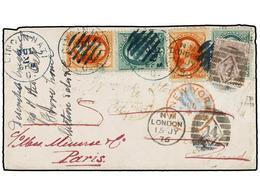 ESTADOS UNIDOS. 1876. CINCINNATI To GREAT BRITAIN. 2 Cts. Orange (2) And 3 Cts. Green (2) Stamps Tied By Grill Cancel. R - Sellos
