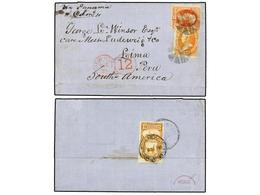 ESTADOS UNIDOS. Sc.163, 178. 1878. BOSTON To LIMA. 15 Cts. Yellow And 2 Cts. Vermilion With NEW YORK/12 Credit Handstamp - Sellos
