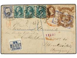 ESTADOS UNIDOS. Sc.188, 206, 207 (3). 1882. NEW YORK To MONTEVIDEO (Uruguay). Imaginary Postal Stationary Envelope (2 Ce - Sellos