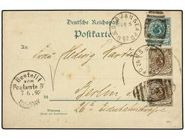 ESTADOS UNIDOS. 1892. NEW YORK To BERLIN. German Reply Card Of 5 Pf. Green Uprated With Two 3 P. Brown German Stamps Can - Sellos