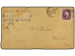 ESTADOS UNIDOS. Sc.70P4. 1897 (Oct. 5). SOUTH MERIDIEN (Conn.) To BRIDGEPORT. Envelope Used With A 24 Cents. Red Lilac P - Sellos