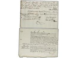 URUGUAY. 1793. RECIBO DE ENCOMIENDA De LA CORUÑA A MONTEVIDEO Dirigida A M. De Basavilbaso Y 1802 Registro De Carga De L - Sellos