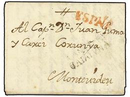 URUGUAY. 1798. VILANOVA Y LA GELTRÚ (España) A MONTEVIDEO. Marca PRINCIPADO DE/CATALUÑA De Salida En Negro Y ESPAÑA En R - Sellos