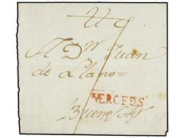 URUGUAY. (1800 CA.). MERCEDES A BUENOS AIRES. Envuelta, Marca Lineal MERCEDES En Rojo. PRECIOSA. - Sellos